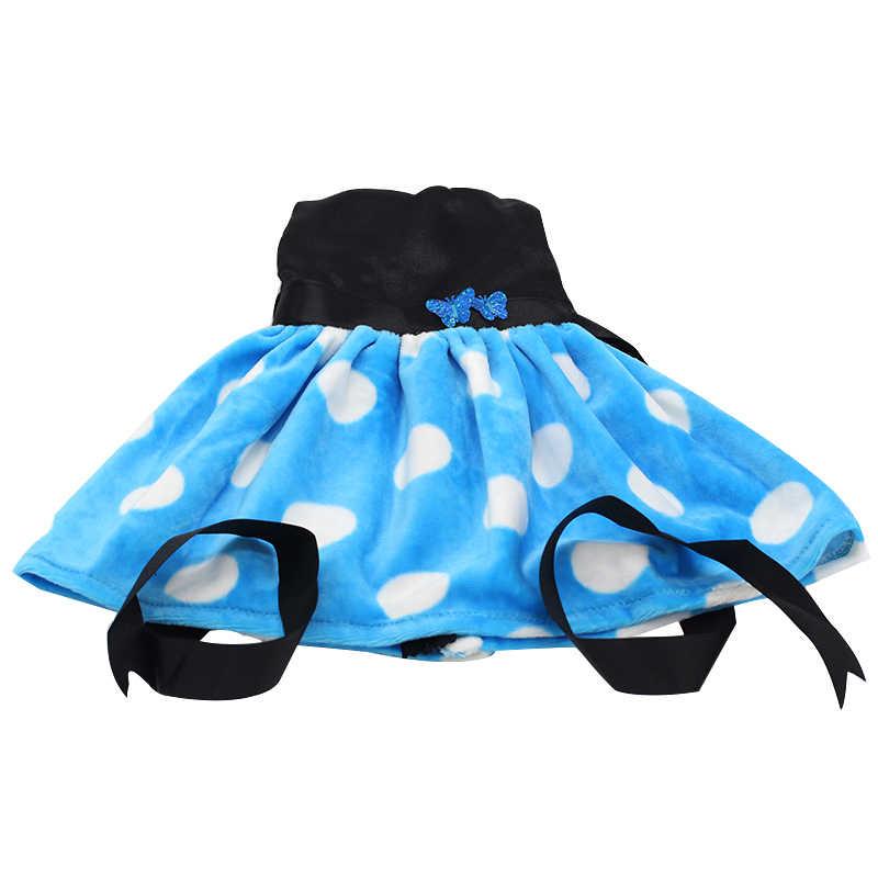 White Dot Pattern Back Com Fita Bow Princess Dress Para 43 cm Bebê Roupa Da Boneca Boneca Acessórios Meninas Melhor Presente 145