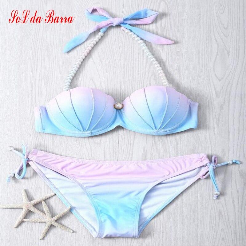 2017 Sexy Klassische Shell Bra Bademode Frauen Bikini Aufgefüllte Badeanzug Retro Halter Biquini Badeanzug Frauen Plus Größe Monokini XL