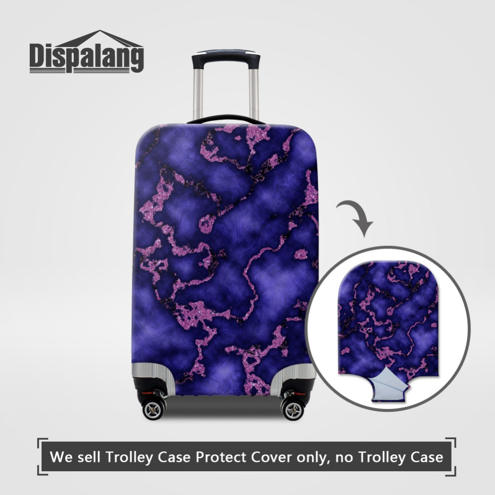 Dispalang Travel Luggage Cover For 18-30 Inch Suitcase Dustproof Cover Marble Pattern Elastic Stretch Luggage Protective Covers