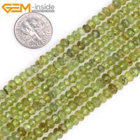 Gem Inside Natural Heishi Rondelle Disc Spacer Faceted Olivine Peridots Beads For Jewelry Making Strand 15inches