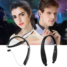 FancyQbue Sports Bluetooth font b Headphones b font With Mic Retractable Foldable Neckband Wireless Headset Anti