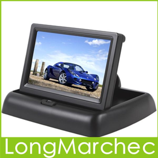 """Venta Nuevo 4.3 """"TFT LCD Monitor Del Coche Con $ number Canales de Entrada de Vídeo Para El Coche de Visión Trasera Cámara de Marcha Atrás O de DVD de la Ayuda NTSC/PAL"""