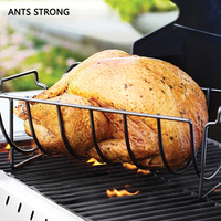 ANTS STRONG Stainless steel rib rack roasts/outdoor turkey block grill steak rack kitchen BBQ tools accessories
