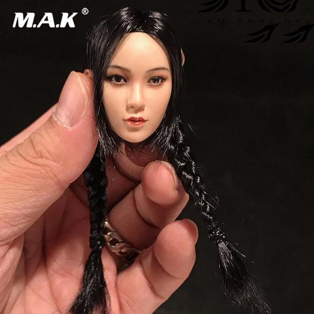 "1/6 Scale Asian Girl Head Accessory Suntan Asian Female Headsculpt With Double Braid Fit 12"" Figure Body"