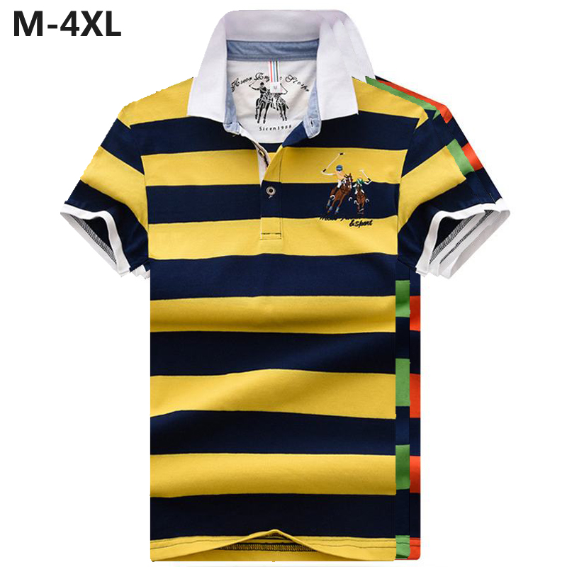 Male   polos   shirts 2019 Mens Summer short sleeve striped   polos   shirts cotton casual mens lapel tees fashion slim mens tops