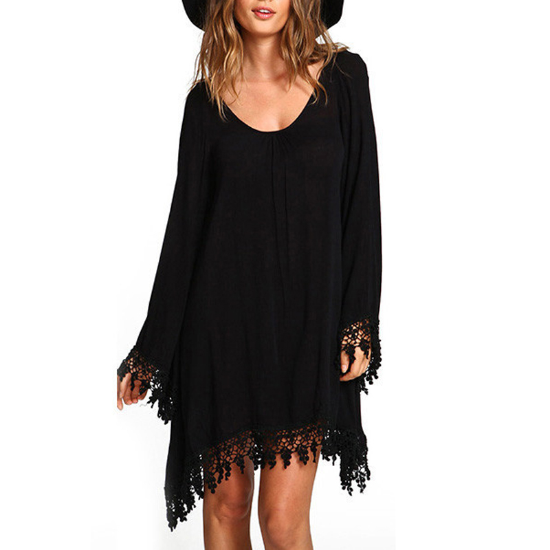 18b6de8a6ba Sping Summer Elegant Women Beach Dress Casual Loose Long Sleeve Tassel  Black Party Dress vestidos Summer BohoOffice Dresses