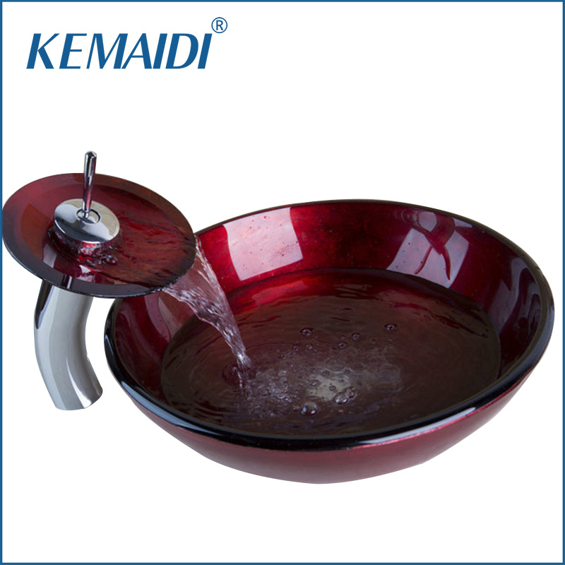 KEMAIDI Good Quality Bathroom Glass Faucet Construction Real Estate Bathroom Vessel With Drainer Glass Basin Sink Set &DrainKEMAIDI Good Quality Bathroom Glass Faucet Construction Real Estate Bathroom Vessel With Drainer Glass Basin Sink Set &Drain