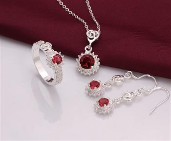 PS0693 Wholesale fine 100% Real Shot 925 pure Sterling silver necklace earrings ring jewelry set