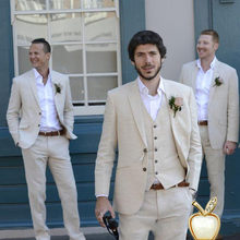 Latest Coat Pant Designs Beige 3 Pieces Slim Fit Wedding Suit Bestmen Summer Marriage Groom Tuxedo 3 Piece(Jacket+Pant+Vest)(China)