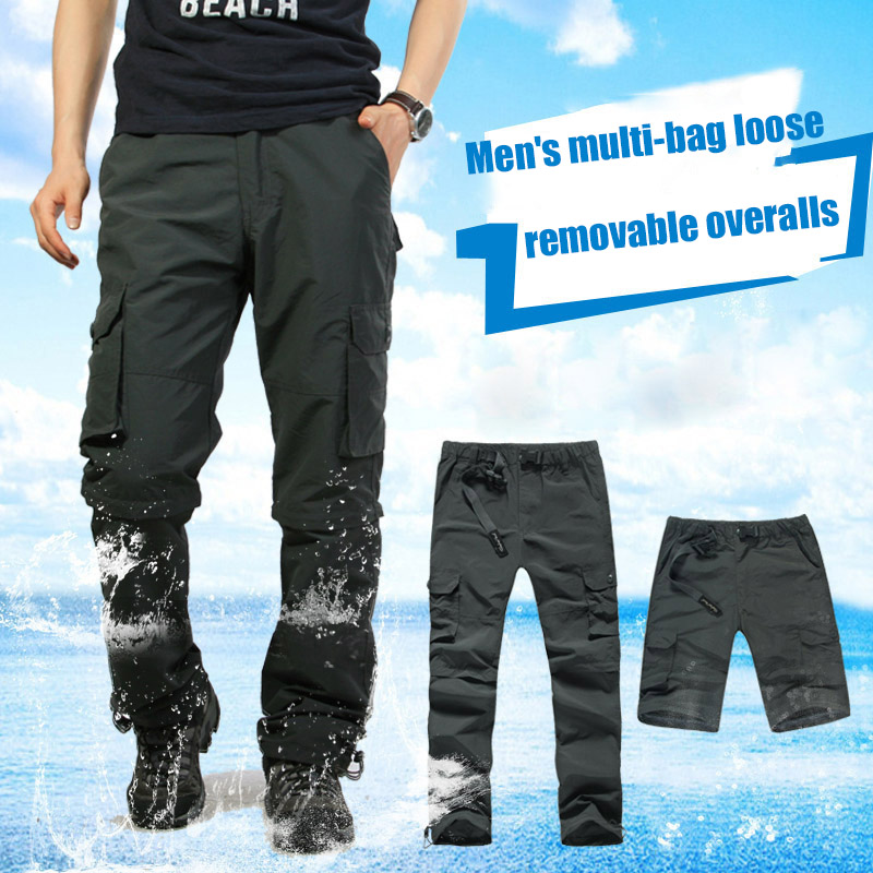 2020 New Men Boy Gentleman Handsome Casual Work Trouser Pants Workwear Multi Pockets Convertible For Outdoor Summer TC21