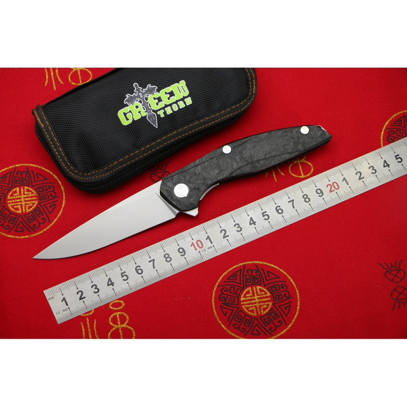 Зеленый шип Флиппер F111 M390 лезвие Сталь углеродного волокна ручки складной нож Открытый Отдых на природе Охота Карманный фрукты Ножи EDC инст...