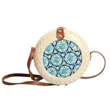 Summer Women Handmade Round Hand Woven bag Bamboo Bag Stitching Hollow Crossbody Bohemia Beach Holiday Shoulder Female