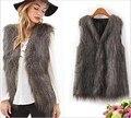 2016 Artificial Fur Vest Women's Winter Sleeveless Coat Female Jacket Faux Peacock Feathers Fur Vests Colete Veste Gilet Femme