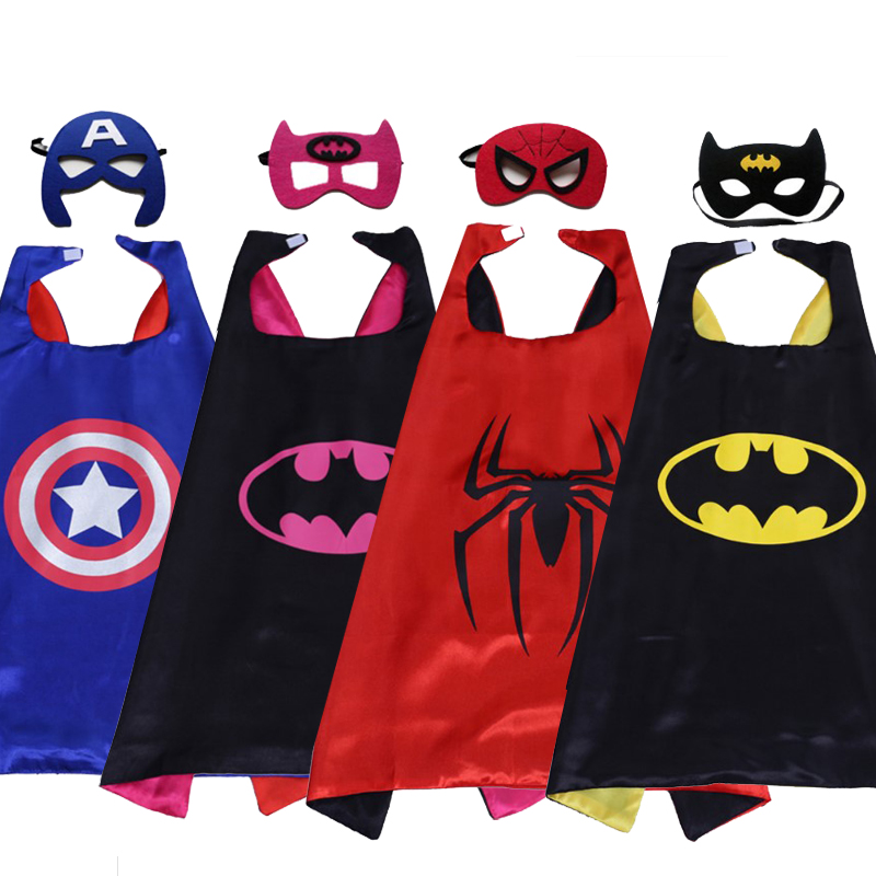 Superhero cape (1CAPE+1MASK)batman super Hero Costume for Children Halloween Party Costumes for Kids superman spiderman70x70cm