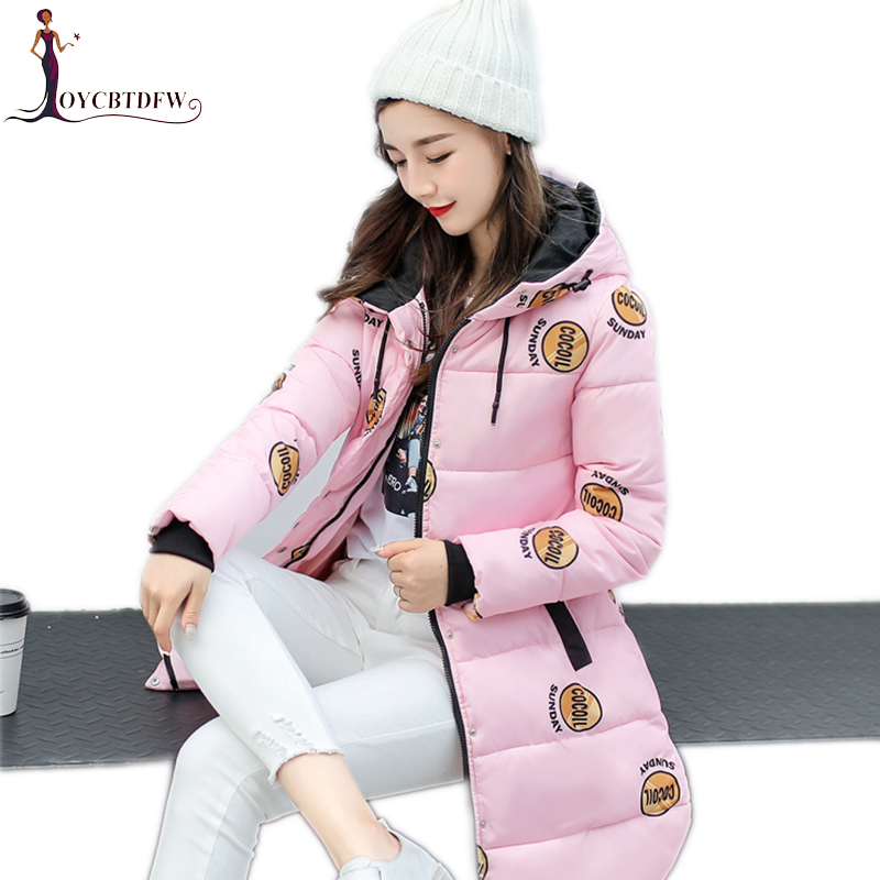 Winter women cotton jacket 2017 new printing Large size outerwear mid-long Thin section overcoat hooded warm female Parkas wy021 2015 new hot winter thicken warm woman down jacket coat parkas outerwear hooded splice mid long plus size 3xxxl luxury cold