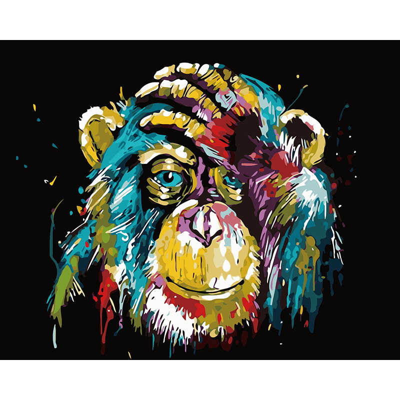 Frameless Picture Abstract Animals Orangutan DIY Painting By Numbers Modern Wall Art Canvas Painting Unique Gift For Home Decor
