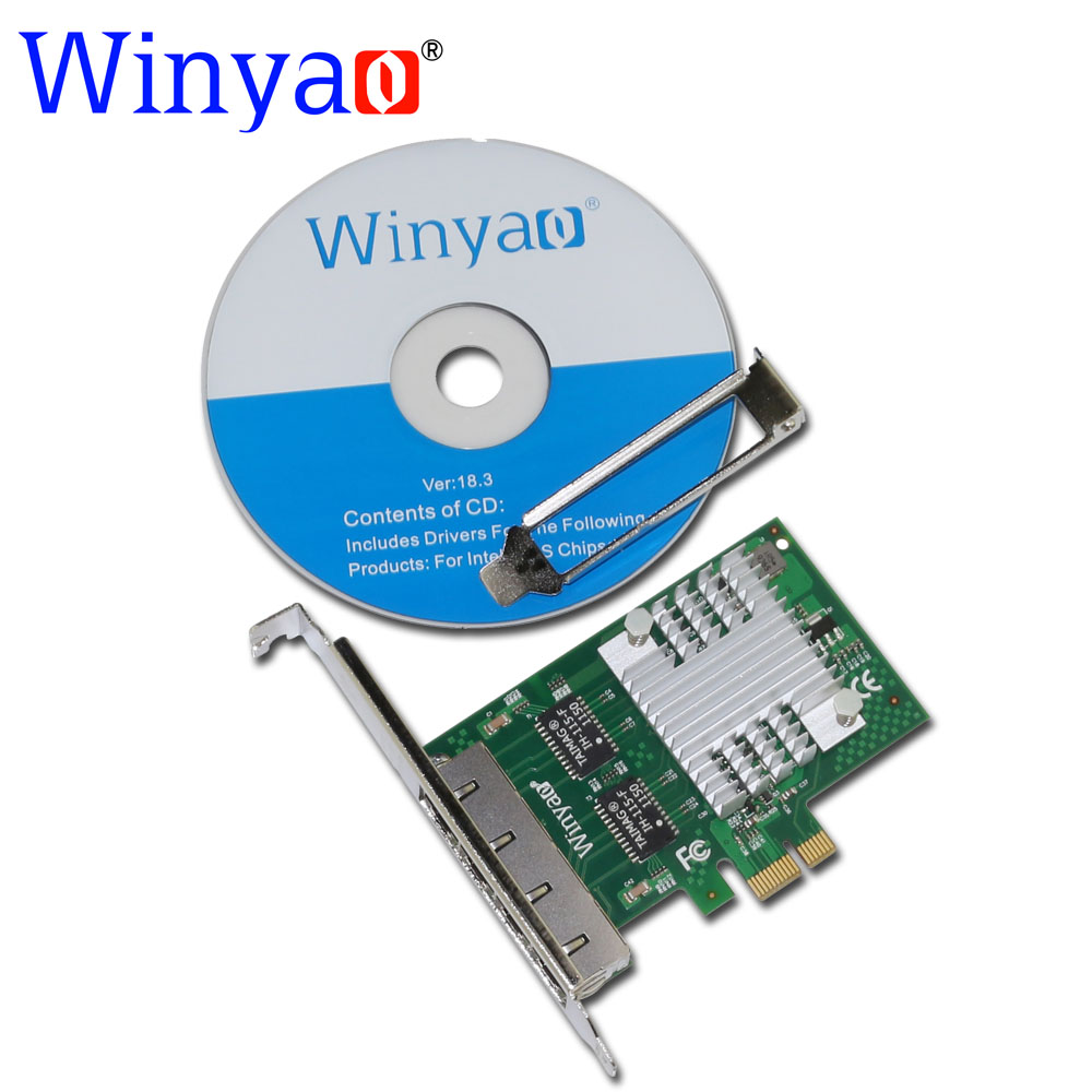 Galleria fotografica Winyao E350T4 PCI-E X1 Quad Port 10/100/1000 Mbps Gigabit Ethernet Carte Réseau Serveur Adaptateur LAN intel I350-T4 NIC