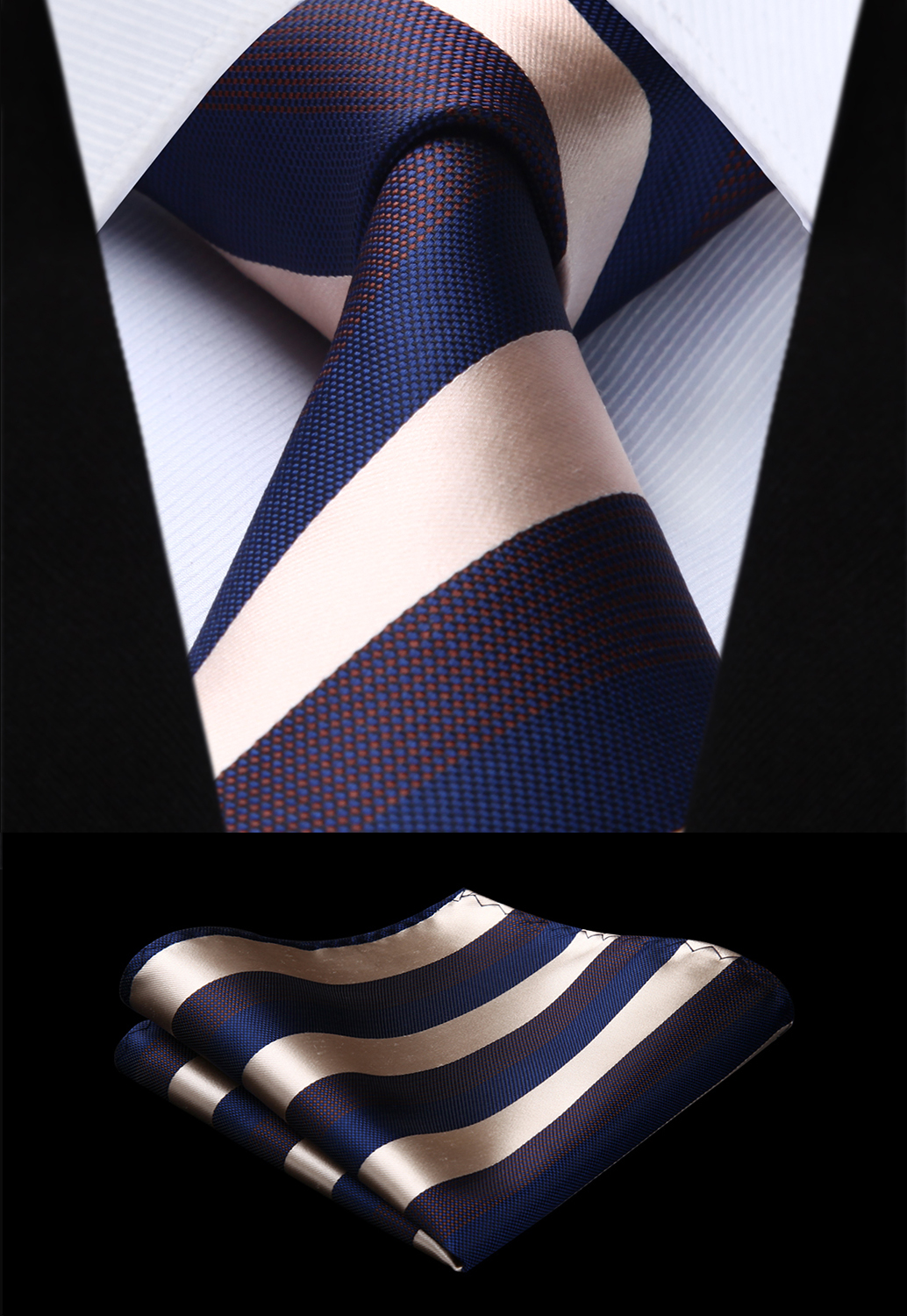 Party Wedding Classic Fashion Pocket Square Tie Woven Men Tie Blue White Striped  Necktie Handkerchief Set#TS909B8S