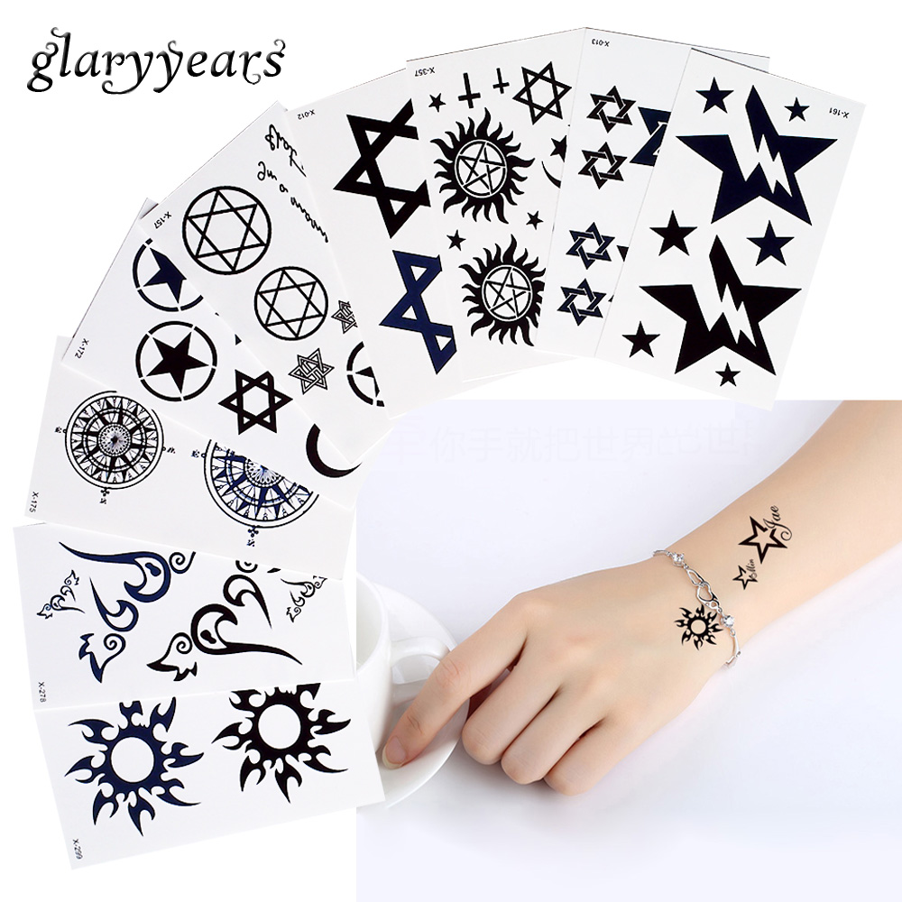 1 Blatt Temporäre Körper Schönheit Make-up Tattoo Stern Muster Wasserdicht Hand Zurück Taille Kunst Für Frauen Männer Kleine Henna Aufkleber Einzigartige