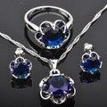 Azul Zirconia Cúbico Para Las Mujeres Conjuntos de Joyas de Plata Colgante de Collar Pendientes Anillos Envío Libre JS071