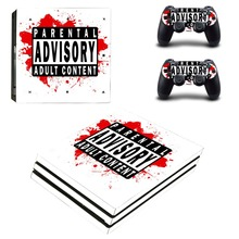 Parental Advisory Decals PS4 Pro Console Skin & Two Controller Vinyl Sticker Design for Sony PlayStation 4 Pro