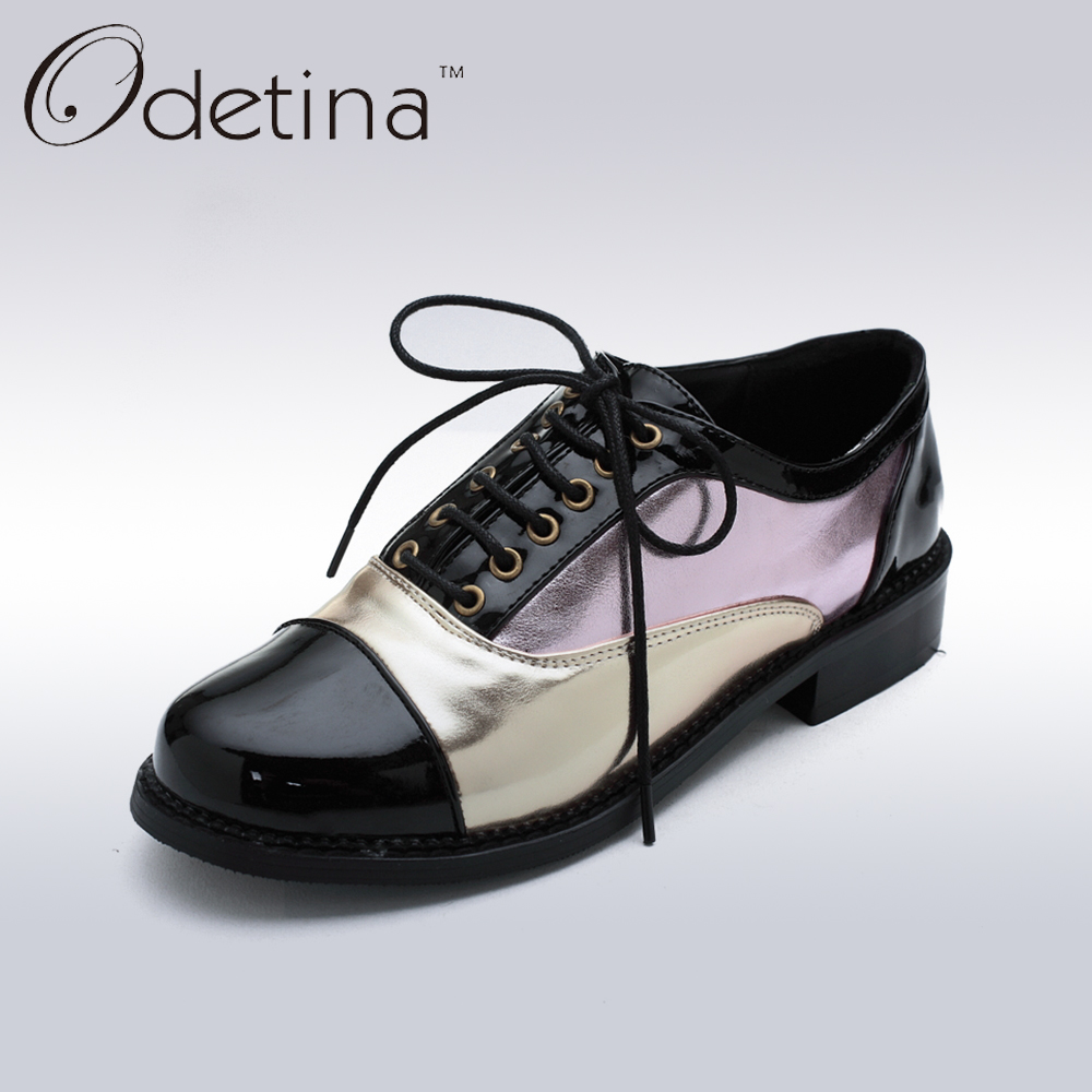 Odetina 2017 Spring Fashion Patchwork Lace Up Oxford Shoes for Women Derby Shoes Flat Non-slip Woman Casual Shoes Plus Size 48 genuine leather women shoes fashion lace up casual flat shoes peas non slip outdoor shoes plus size