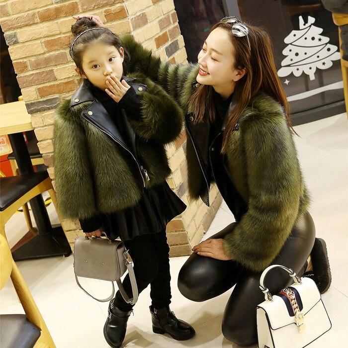 Womens Kids Fox Fur Furry Short Coat Slim Fit Stitching Leather Lapel Collar Korea Outwear Warm Peacoat Parkas 4Colors
