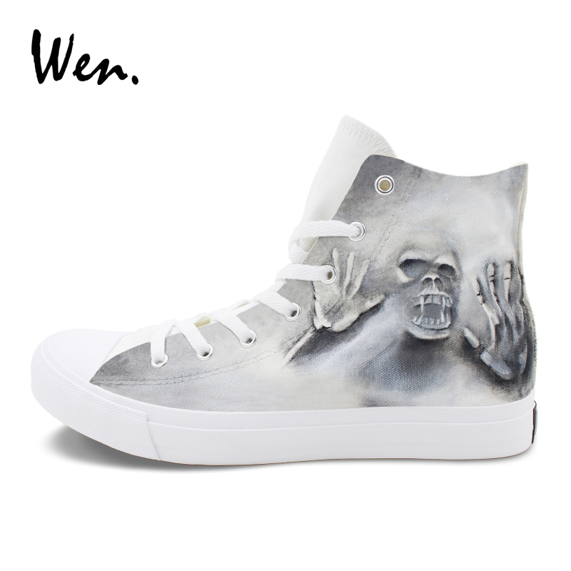 Wen Cool Skull Zombie Style Hand Painted Shoes Canvas Graffiti Painting Sneaker for Men Women Original High Top Shoes halloween party zombie skull skeleton hand bone claw hairpin punk hair clip for women girl hair accessories headwear 1 pcs
