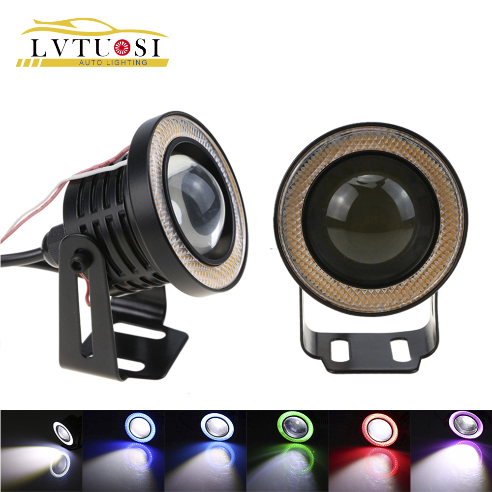 "LVTUSI 2 stks High Power 2.5 / 3.0 / 3.5 ""Projector Universeel LED-licht w / Blauw / Groen / Rood / Wit COB Halo Angel Eye Rings BE"