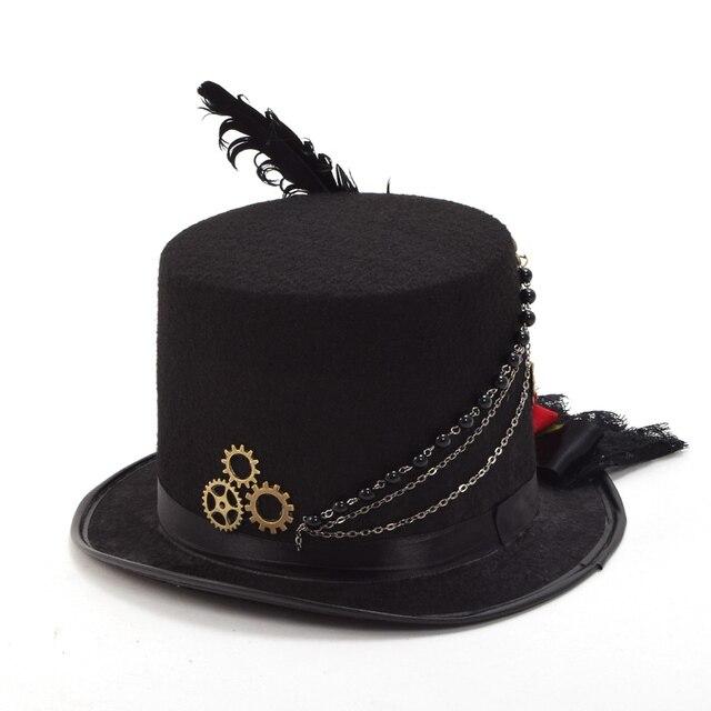 Шляпа в стиле стимпанк с розами и пером 5