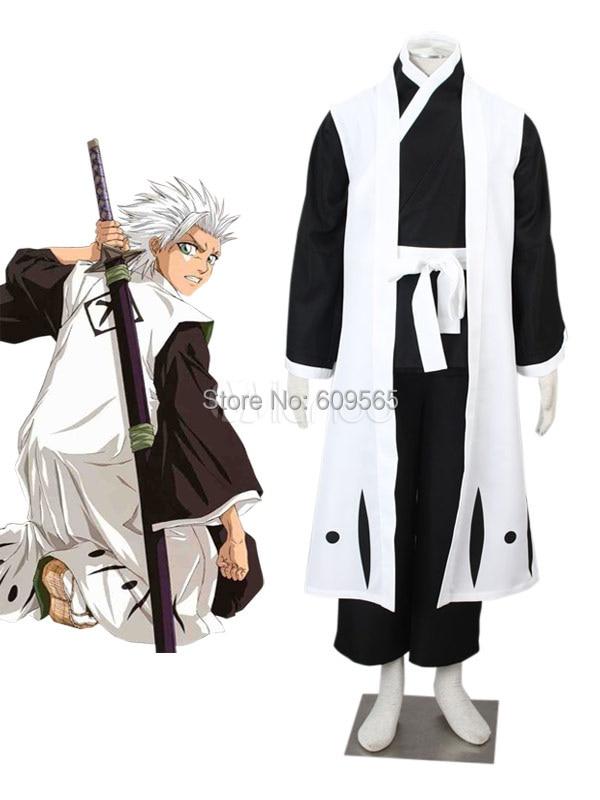 Free shipping Newest Vivid Hitsugaya Toushirou Cool Bleach Cosplay Costume Sash Kimono Pants Gown