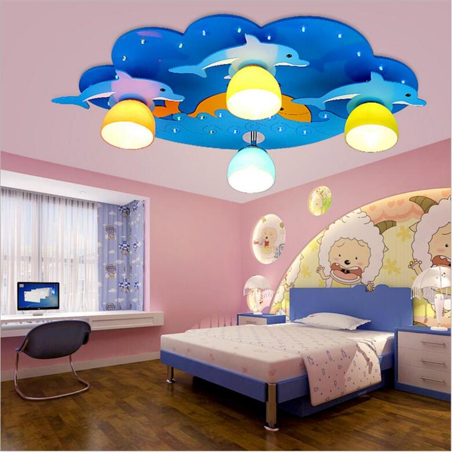 Kids Led Ceiling Lamp Child Blue Ceiling Lighting Lights 220v Dolphin Children Led Ceiling Light Boys Bedroom Wooden Lamp Decor