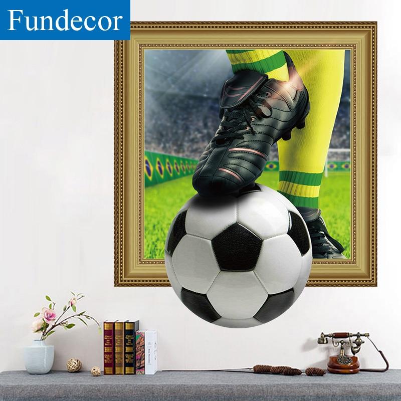 [Fundecor] 3D Чемпионат мира по футболу поддельные окна сломанной стены стикеры для детей номеров мальчиков Спальня бар на стены фрески home decor