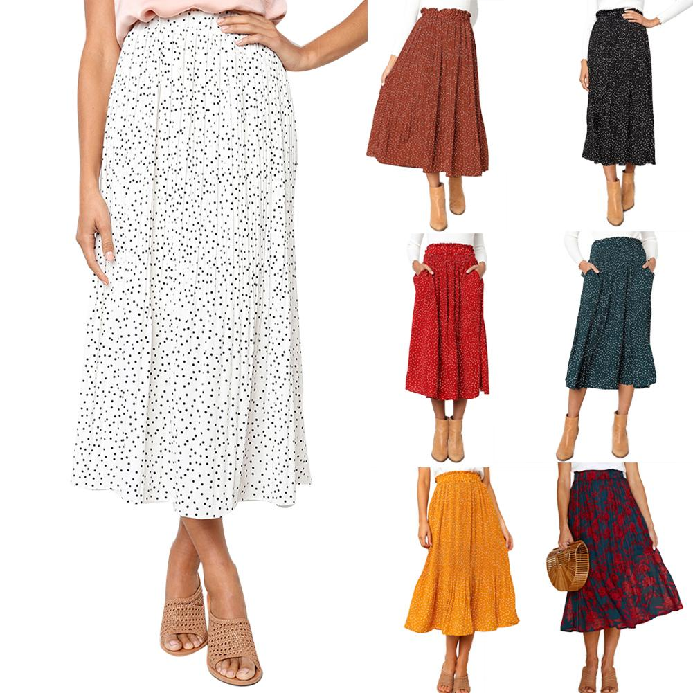 Fashion Women Casual Polka Dot Flower Print Skirts For Lady High Waist Pleated Midi Skirt with Pockets Beach Travel 7 Colors