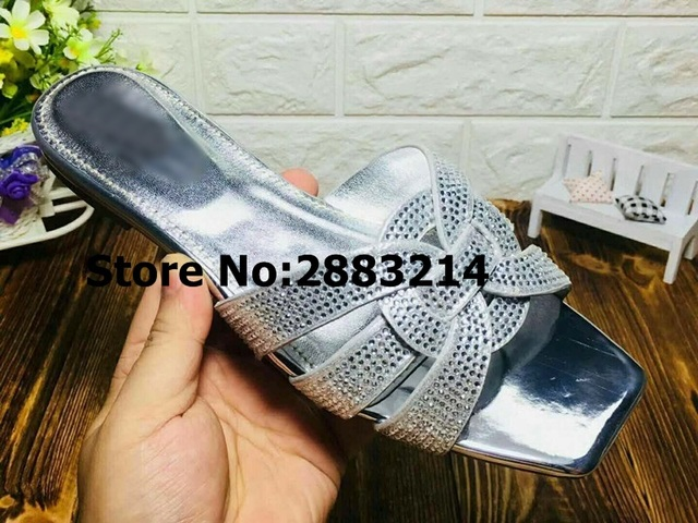 faa142cac16fd7 Best-selling Crystal Leather Women Summer Slippers High Heels Tribute Open  Toe Lady Sandals Slides Shoes Outside Sexy Shoes