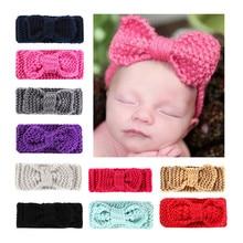 Ins Newborn Headbands Baby hair Accessories Girl Winter Crochet Head Wrap Warmer Knitted Bow Hairband Hair Band HC19032
