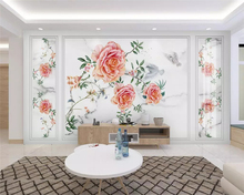 beibehang papel de parede New Chinese-style hand-painted rose marbled flower bird background 3d wallpaper wall papers home decor