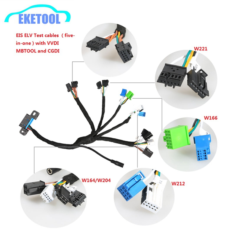 EIS ELV Test Cables Supports For Mercedes Works Together With VVDI MB BGA TOOL CGDI Prog MB (5-in-1) With Dashboard Connector