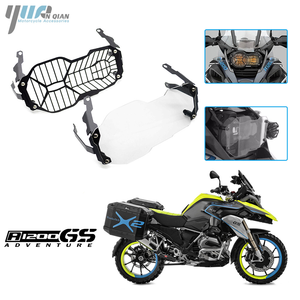 YUANQIAN Motor CNC Headlight Grille Guard Cover Protector For BMW R1200 GS R1200GS ADV Adventure R1200GS 2013 2014 2015 2016 акрапович для бмв r1200gs 2013