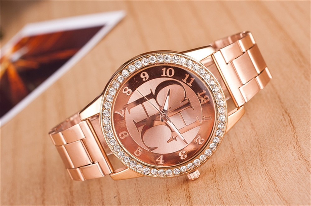 montre homme new famous brand full steel dress wristwatch Gold Geneva Women font b watches b