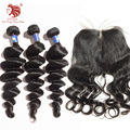 Bouncy Wave paquetes de pelo con el cordón cierres Pelo Virginal brasileño Para Su Buen Envío Libre Del Pelo productos para el cabello venta caliente