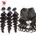 Onda Saltitante Cabelo Virgem brasileiro feixes de cabelo com fechos de renda Para O Seu Bom Cabelo Frete grátis produtos de cabelo de venda quente