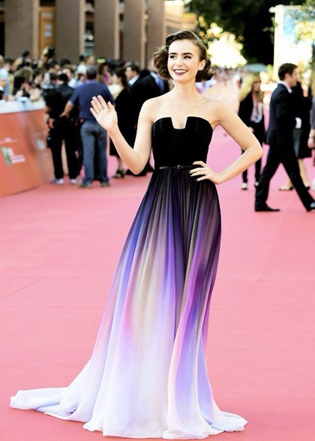 2015 Lily Collins Vestidos New Gradient Change Strapless Ombre ...