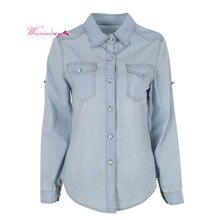 Осень Для женщин Блузка нагрудные Button Blue Подпушка джинсовая рубашка женская карман тонкий Лаки для ногтей блузка Blusa