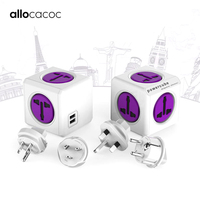 Allocacoc Powercube International Travel Adapter Universal multi plug electric power strip Socket USB Charger for UK EU AU USA
