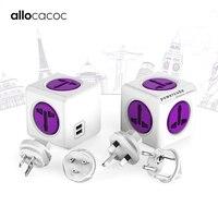Allocacoc Powercube International Travel Adapter Universal multi plug electric power strip Socket USB Charger for UK EU AU USA