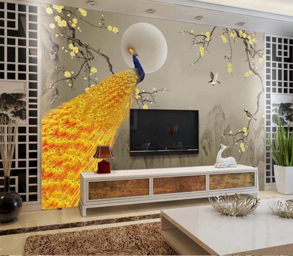 Nouveau chinois encre paysage doré prune paon fleur oiseau mur papier peint pour murs 3 d pour salon - 5