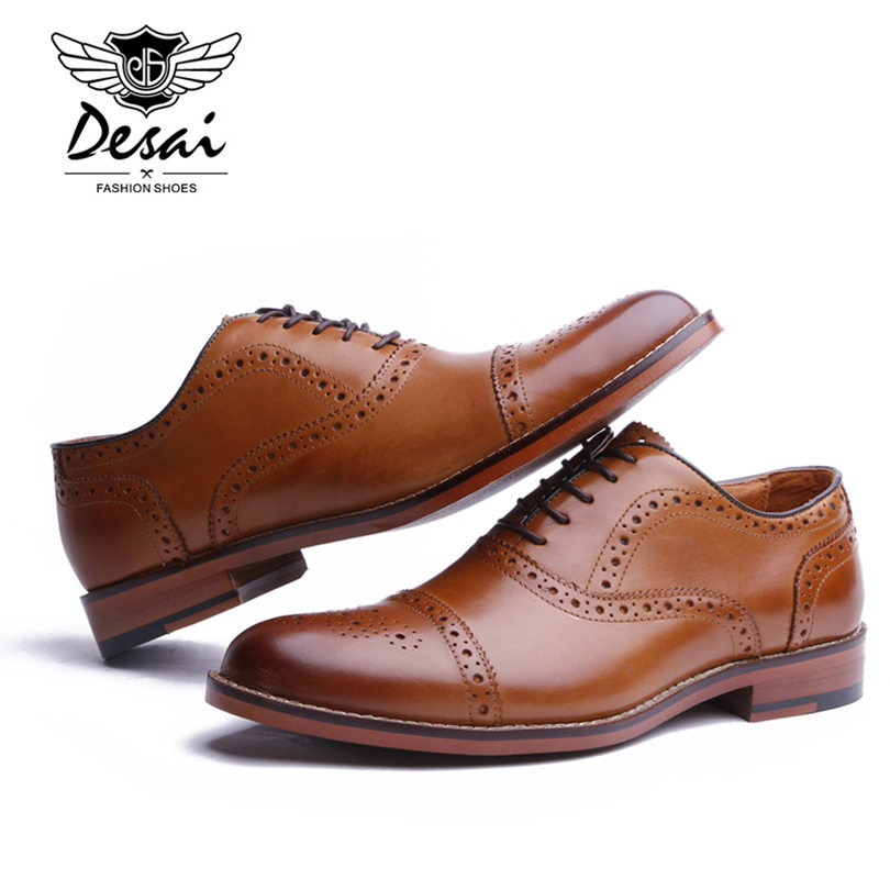 Desai marca masculina de couro genuíno oxfords sapatos masculinos estilo britânico esculpida brogue sapato laço up bullock negócios vestido sapatos apartamentos - 3