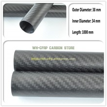 1PCS carbon fiber tube high composite hardness material 38mm ODx 34mm ID x 1000MM Long (Roll Wrapped) carbon pipe
