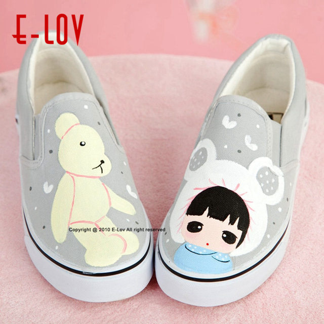 E-LOV 17 Special Personalized Hand-Painted Unisex Designs Painting Canvas Shoes Women Adult Casual Shoes Cute Platform Shoes